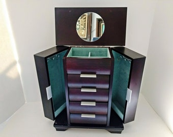 Wood Armoire Chest, Black Jewelry Box, Tall Necklace Doors, Mirror top Ring Rolls, Mele Organizer Four Drawers Vintage Tall Display Case