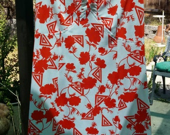 Groovy 70's Red and White Dress