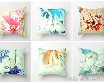Floral Art Pillows - Choose one or more, colorful square pillows, pillow covers, scatter cushions lumbar, pillow covers, cushion covers,