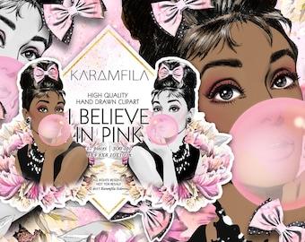 Audrey Hepburn Clipart Fashion Illustration Breakfast at Tiffanys African American Girl I Believe in Pink Quote Bubblegum Planner Supplies