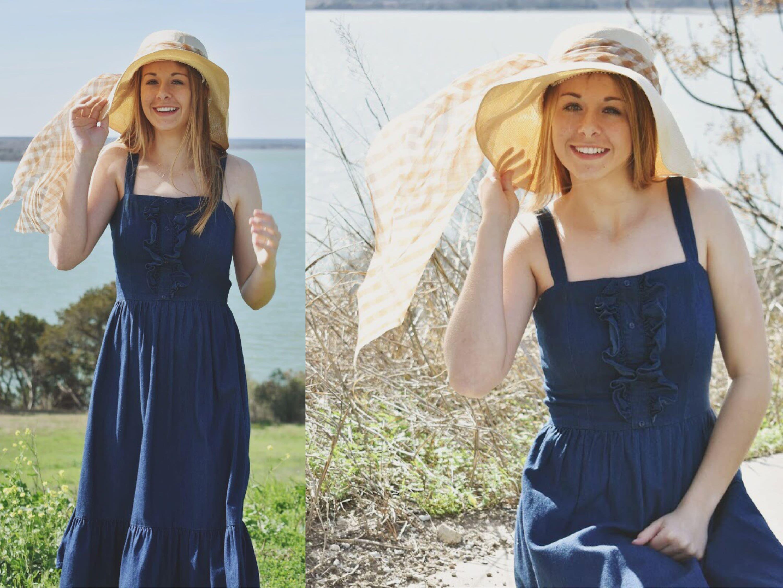 Denim Tea Length Dress