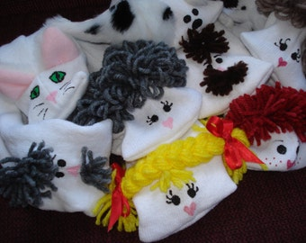 Set of Eight  Family Sock Puppets