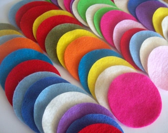 Felt circles, variety of colors and sizes, 1, 1.5, 2, 2.5, 3 or 4 inches, fabric circles, felt