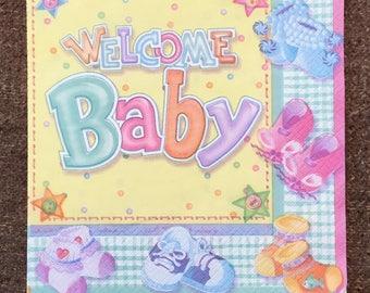 PN-214. Paper Napkins for Decoupage Paper Napkins Art Luxury Design Wedding Birthday DECOUPAGE SERVIETTE Welcome Baby