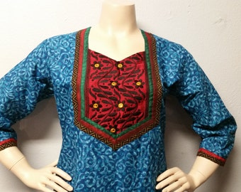 Vtg Indian Cotton Tunic Top Dress--embroidered Sz -Medium-Large