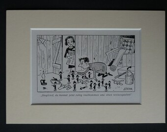 1950s German Political Satire Cartoon by Oskar, Antique Toy Soldiers comic book art, vintage satirical picture Available Framed German Art