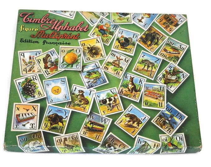 Alphabet Stamp Set. Vintage French Kids' Rubber Block Letter Stamps with Illustration. Children Craft Gift.