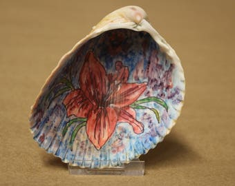 Colorful Lilly  painted on a real sea shell.