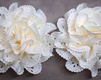 2 Ivory Eyelet Flower - Fabric Flower - Vintage Chiffon Flower - Lace rose - Wholesale flowers - Lace Flower - Eyelet Fabric Flower