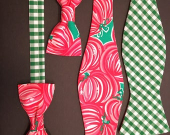 bow tie authentic upcycled Lilly Pulitzer Punkin Chunkin