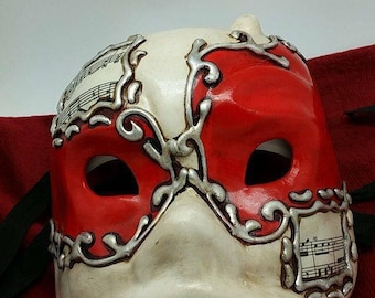 red - paper mache mask - Harlequin-music notes - man size