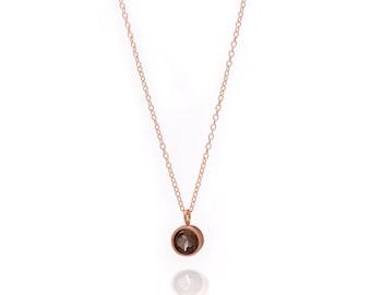 Gemstone POP Necklace - Rose Gold Necklace - Smoky Quartz Necklace - Small Gemstone Pendant Necklace - 18k Rose Gold Vermeil