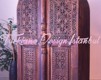 TAJ MAHAL Cabinet Cupboard Dresser Hand Carved Antique Orient Style Solid Wood Furniture