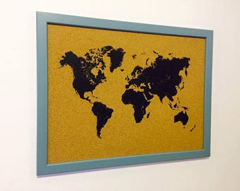 Corkboard map etsy world map beautiful decorative push pin to remember the places you visited 17 x 13 inch hang on your wall gift 50 push pin flags gumiabroncs Image collections