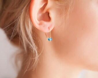 Aquamarine Earrings, Dainty Earrings, Aquamarine Gold Earrings, Tiny Aquamarine Earrings, March Birthstone Earrings, March Birthstone Gifts