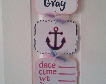 Baby Girl Hopsital Banner - Baby Gir Shower - Anchor Baby Shower -Nautical Baby Girl - Anchor Baby Girl Sign