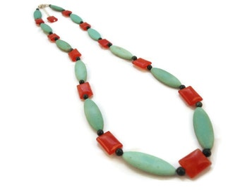 Orange and Seafoam Necklace Carnelian and Magnesite Jewelry, Sterling Necklace Magnesite Beaded Green and Orange Carnelian Jewelry Magnesite