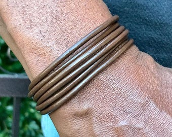 Brown Leather Mens Bracelet | Beaded Bracelet, Cuff Bangle, Bohemian Jewelry, Leather Jewelry | Gift for Him - Magnetic Closure