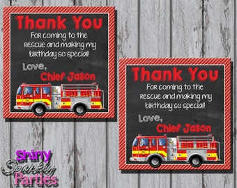 FIRETRUCK THANK YOU tag - Firetruck Favor Tags - Firefighter Favor Tags - Fireman Birthday Party - fireman birthday party  fireman thank you