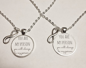 Best Friend Gift, You Are My Person, You're My Person, 2 Necklaces, Infinity, Best Friend BFF Sisters Mother Daughter Gift Necklace Set