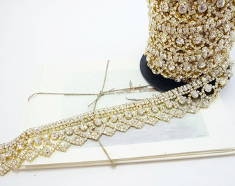 Gold Rhinestone Art Deco Trim, Clear Crystal, Wedding Rhinestone Trim, Rhinestone Chain, Rhinestone Applique, 30mm ( 1 Feet Qty)