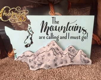 "24"" Washington State Wood cut out.  With 3D mountains effect and engraved lettering.  Wall decor."