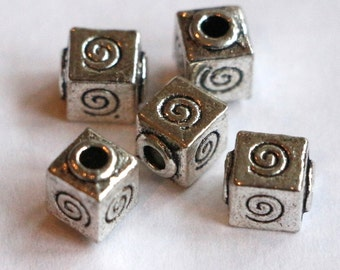 5 Tibetan Silver Square Large Hole Beads Spiral Design 7x7mm