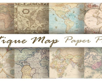 Antique OLD WORLD MAPS - Digital Paper Pack - 8 Maps -Instant Download Digital Printable Papers  - DiY