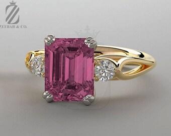 Emerald Cut Pink Sapphire Engagement Ring - White Sapphire - 14K Yellow & White Gold - Wedding Ring - Bridal Ring - Anniversary Ring