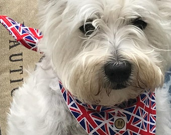 GB Union Jack Flag Dog Bandana in red white and blue cotton