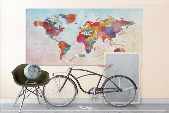 World map watercolor world map push pin world map extra world map watercolor world map push pin world map extra large world map push pin travel map wall decor wall hanging wanderlust 855 gumiabroncs Images