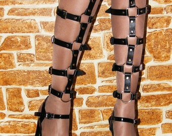 Leather Leg Garters - Leather Harness - Leather Legs Belts - Pair of leg harness