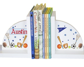 Sports bookends etsy childrens custom sports bookends personalized book ends baby gift kids books football baseball soccer nursery theme negle Image collections