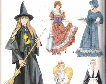 "2003 Simplicity 5372 Girl's Costume Witch, Pilgrim, Angel, Milk Maid, Colonial Dress Sewing Pattern Size A 2-12, Breast 21"" - 30"""