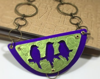 Bird Necklace-Bird Lover Necklace-Purple Birds-Birds on a Branch Necklace