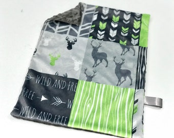 Lime Green Deer Baby Boy MINKY Lovey Blanket, MINI Minky Baby Blanket, Taggie Blanket, Green and Grey Woodland Lovey Blanket, Baby Gift