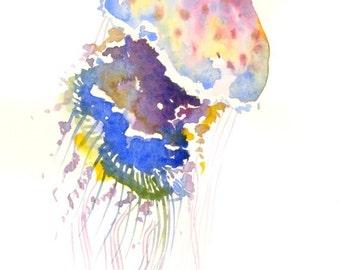 Blue purple pink rainbow Jellyfish, Original watercolor, 12 X 9 in, jellyfish minimalist wall art