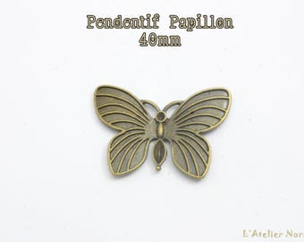 Bronze Butterfly charm pendant 40 mm