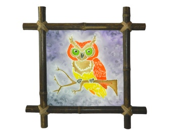 Owl Silk Painting Nursery decor Artwork Framed hanging art Rustic original Baby wall decor Kids decor Bird Framed Interior Nature lover gift