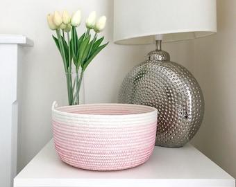 Rope basket, ombre pink, storage basket, rope bowl, cotton, storage, nursery storage, gift idea, housewarming, organiser, jewellery basket