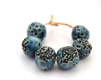 6 Nautical Beads, Blue / Black Glazed Beads, Handmade Ceramic Beads,  White Clay Beads, Jewelry Supplies