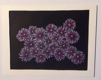 Pink Daisy Flower Drawing (Original)