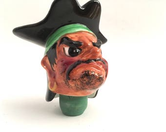 Pirate Barware Bottle Stopper Ceramic Swashbuckler Retro Vintage