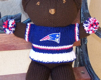 Bear, New England Patriots,  Superbowl Bear, Baby Girl Bear, Shower Gift, Birthday Gift, Cheerleader Bear, Souvenir Bear, Valentines Day