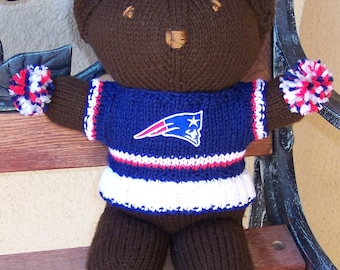 Bear, New England Patriots,  Superbowl Bear, Baby Girl Bear, Shower Gift, Birthday Gift, Cheerleader Bear, Souvenir Bear, Valentines Day
