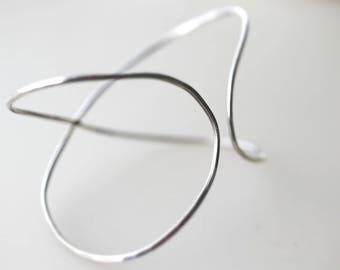 X Bracelet - X Cuff Bracelet - Cross Cuff Bracelet - Silver Handmade,  Hammered Cuff - Silver Minimal Bracelet - Minimalist Jewelry