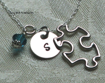 Autism Awareness Puzzle Piece Initial hand stamped necklace with birthstone crystal