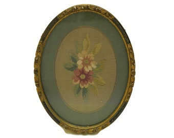 Antique French Tapestry. Floral Needlepoint Picture. Framed Flower Art. Shabby Home Decor. Gift for Her.
