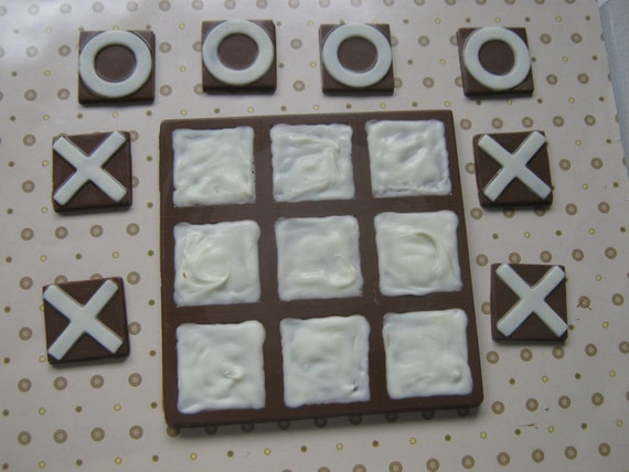 Solid chocolate playable tic tac toe edible chocolate game board