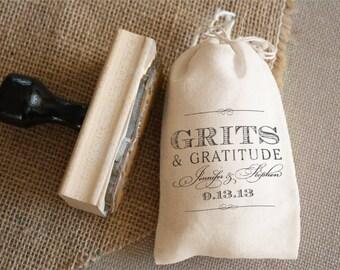 DIY Favor Bag Stamp - CUSTOM WORDING  - Grits & Gratitude
